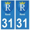 31 Revel ville autocollant plaque blason stickers