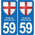 59 Bruille-lez-Marchiennes coat of arms sticker plate stickers city