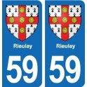 59 Rieulay coat of arms sticker plate stickers city