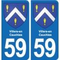 59 Villers-en-Cauchies blason autocollant plaque stickers ville