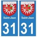 31 Saint-Jean ville autocollant plaque blason stickers