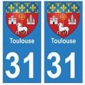 31 Toulouse ville autocollant plaque blason stickers