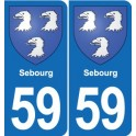 59 Sebourg coat of arms sticker plate stickers city