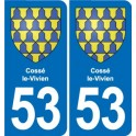 53 Cossé-le-Vivien coat of arms sticker plate stickers city