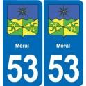 53 Méral blason autocollant plaque stickers ville
