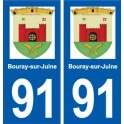 91 Bouray-sur-Juine autocollant plaque immatriculation ville sticker auto