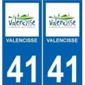 41 Valencisse autocollant plaque immatriculation ville sticker auto
