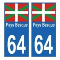 64 Pays Basque autocollant plaque