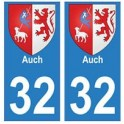 32 Auch autocollant plaque blason armoiries stickers département
