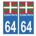 64 Euskal Herria autocollant plaque