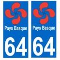 64 Lauburu croix basque autocollant plaque