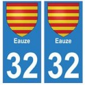 32 Eauze autocollant plaque blason armoiries stickers département