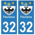 32 Fleurance autocollant plaque blason armoiries stickers département