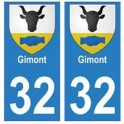 32 Gimont autocollant plaque blason armoiries stickers département