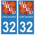 32 L'isle jourdain autocollant plaque blason armoiries stickers département