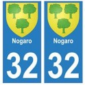 32 Nogaro autocollant plaque blason armoiries stickers département