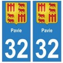 32 Pavie autocollant plaque blason armoiries stickers département