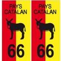 66 pays bicolore catalan burro autocollant plaque