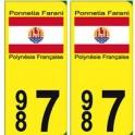 Autocollant Porinetia Farani 987 Polynésie fond jaune sticker plaque immatriculation