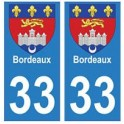33 Bordeaux autocollant plaque blason armoiries stickers département