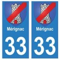 33 Mérignac autocollant plaque blason armoiries stickers département