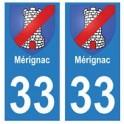 33 Mérignac autocollant plaque blason armoiries stickers département
