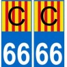66 Catalan C autocollant plaque