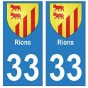 33 Rions autocollant plaque blason armoiries stickers département