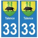 33 Talence autocollant plaque blason armoiries stickers département