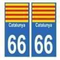 66 Catalan autocollant plaque