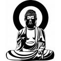 Bouddha noir et blanc - autocollant sticker adhésif