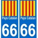 66 Pays Catalan autocollant plaque