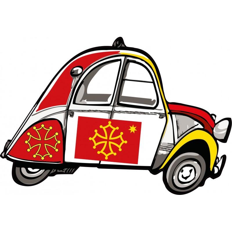 autocollant 2 cv voitue occitan stickers adhesif