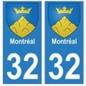 32 Montréal autocollant plaque blason armoiries stickers département