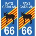 66 pays catalan burro autocollant plaque