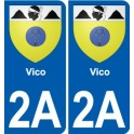 2A Sartène coat of arms sticker plate stickers city