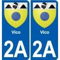 2A Sartène escudo de armas de la etiqueta engomada de la placa de pegatinas de la ciudad