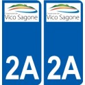 2A Ajaccio logo sticker plate stickers city
