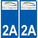 2A Ajaccio logotipo de la etiqueta engomada de la placa de pegatinas de la ciudad