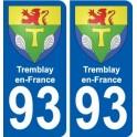 93 Tremblay-en-France blason autocollant plaque stickers ville
