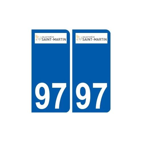 97 Saint-Barthélemy logo autocollant sticker plaque immatriculation ville