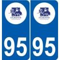 95 Eaubonne logo autocollant sticker plaque immatriculation ville