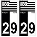 29 Finistère breizh bretagne autocollant plaque bicolore drapeau