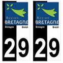 29 Finistère bicolore logo breizh bretagne autocollant plaque