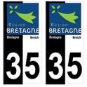 35 Ille-et-vilaine bicolore logo breizh bretagne autocollant plaque