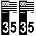35 Ille-et-Vilaine breizh bretagne autocollant plaque bicolore drapeau