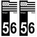 56 Morbihan breizh bretagne autocollant plaque bicolore drapeau