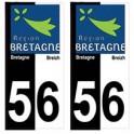 56 Morbihan bicolore logo breizh bretagne autocollant plaque