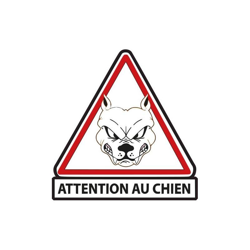 autocollant stickers attention au chien blanc adhesif. Black Bedroom Furniture Sets. Home Design Ideas