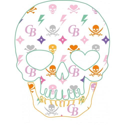 autocollant t te de mort symbole couleur skull sticker adhesif. Black Bedroom Furniture Sets. Home Design Ideas